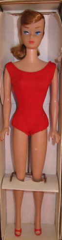 1964 Titian Swirl Barbie in her original box with stand, swimsuit, red shoes, and stand
